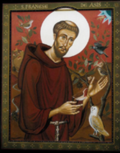 st francis of assisi with birds aidan hart sacred icons