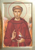 St Francis of Assisi with robin