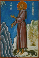 St Cuthbert with otters