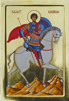 St George (on a horse, tempera)
