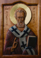 St Martin of Tours (polychromed carving)