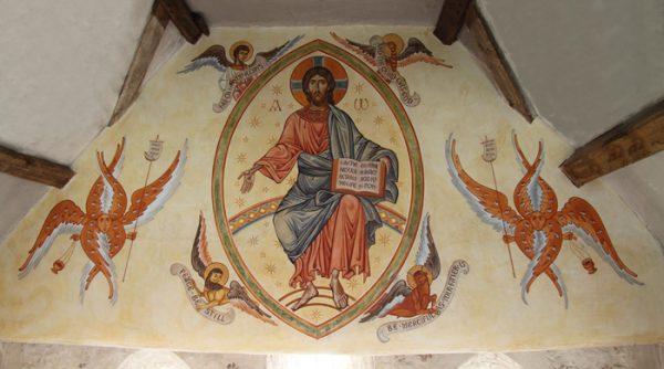 Christ enthroned in Majesty. East wall of Shrewsbury Orthodox Church, U.K. Size: 6 x 3 metres (10 x 5 feet)