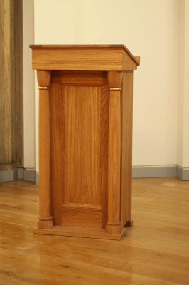 Lectern for Fisher House crafted by Dylan Hartley and designed by Aidan Hart.