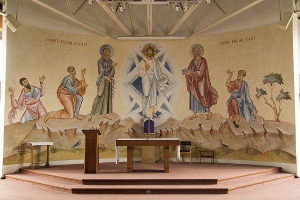 Transfiguration fresco icon all with altar