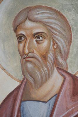 Transfiguration fresco icon moses face