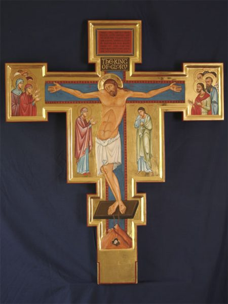 Double sided crucifix, with carved corpus