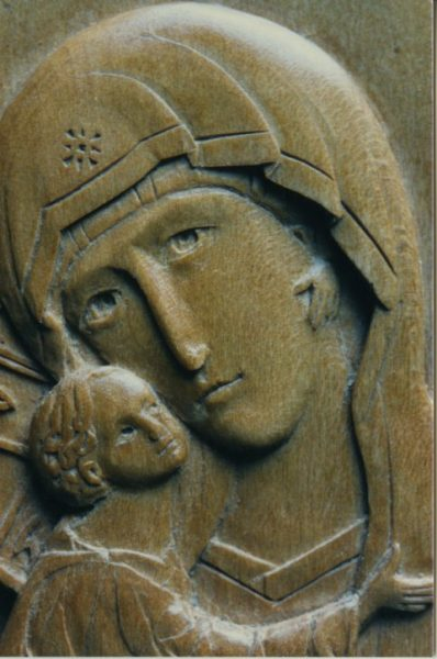 Detail of Vladimir Mother of God (limewood)