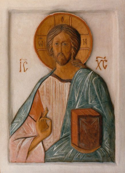 Christ Pantocrator, polychrome carving