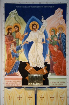 Wall painting of the Resurrection,  St Urbans, Leeds