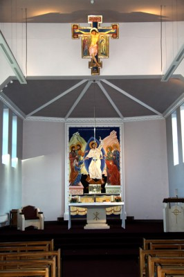 Interior of St Urban's Roman Catholic Church, Leeds, with wall painting, cross and icons by Aidan Hart