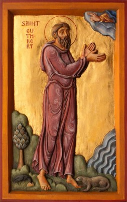St Cuthbert (with otter and raven): carved in limewood, polychromed and gilded