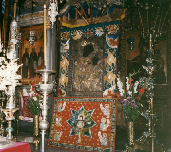 Embroidery designed for Portaitissa icon, Iviron Monastery, Mt Athos