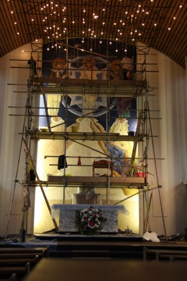 The Transfiguration Fresco in process, Our Lady of Lourdes, Leeds, UK