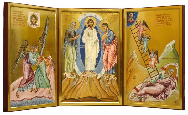 Triptych. The Transfiguration, Jacob wrestling with the angel, Jacob's ladder