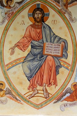 Christ enthroned in Majesty. East wall of Shrewsbury Orthodox Church, U.K. Size: 6 x 3 metres (10 x 5 feet). Executed in fresco and secco.