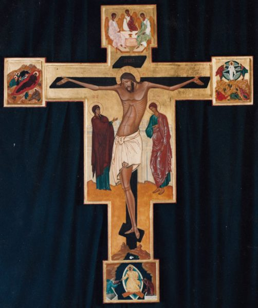 Crucifix with scenes, St Ann's, Kew, London