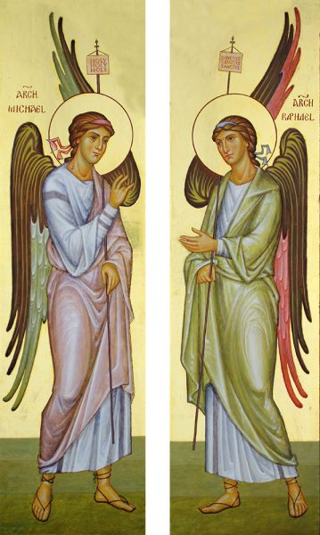 Archangels Michael and Gabriel, inside the doors of the tabernacle of Silverstream Monastery, Ireland