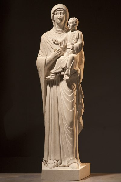 Limestone carving of the Virgin Hodegetria, Omaha, Illinois