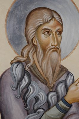 Transfiguration fresco icon elijah face