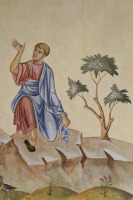 Transfiguration fresco icon moses and tree