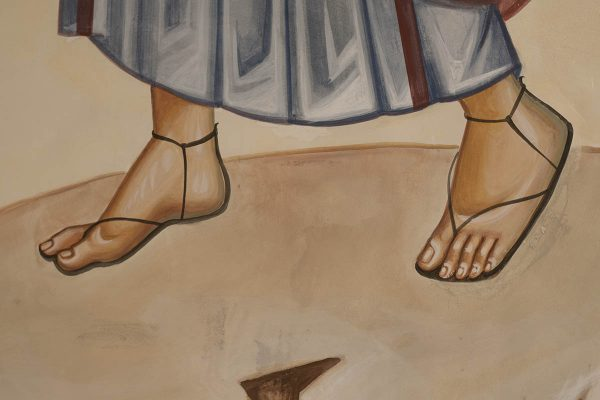 Transfiguration fresco icon moses feet