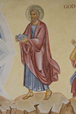 Transfiguration fresco icon moses figure