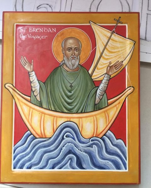 Here is my latest icon, of St Brendan the Voyager.
