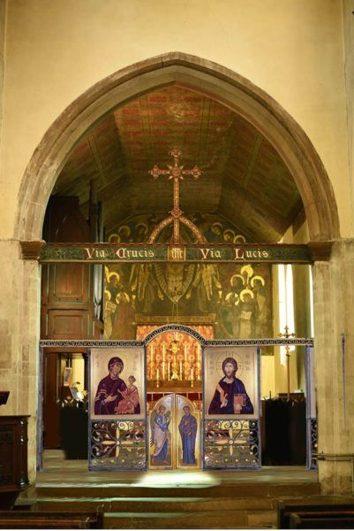 Design for a folding wrought iron iconscreen, St Clement's, Cambridge