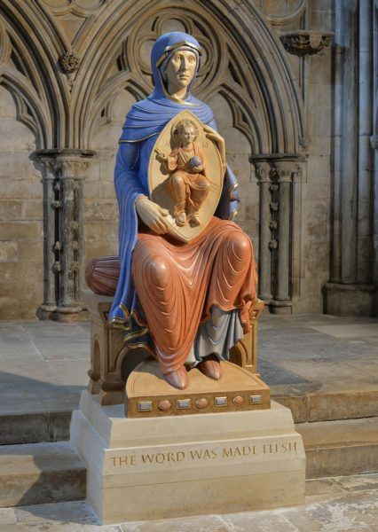 Blessed Virgin Mary of Lincoln, Lincoln Cathedral. Polychromed limestone carving.