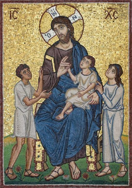 Mosaic of Christ with the children, for playground at St George's Orthodox Church, Houston, Texas.