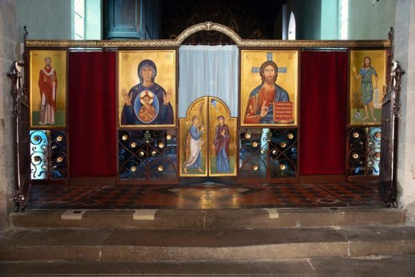 Folding iconscreen for the Orthodox parish of St Ephraim at St Clement's Church, Cambridge. Ironwork made by Frazer Picot, (forgeron47@gmail.com)